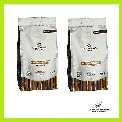 2x Gloria Jeans Coffees Smooth Classic Blend Whole Bean Coffee 1kg