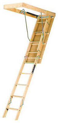 Attic Ladder, Wood, Limit 250-Lbs., 10-Ft.