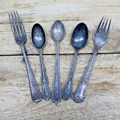 1930s Lot of Five Old Antique Beautiful Handmade Iron Spoon & Fork / Kitchenware