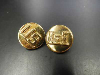 WW2 US Army Engineer Collar Discs Brass Early clutch Back Set Army  WWII