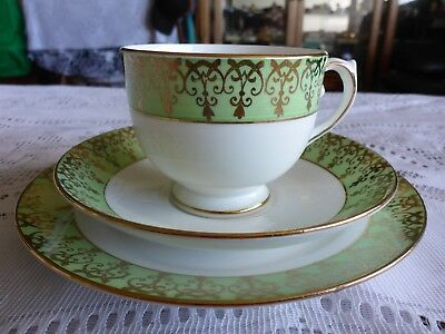 Salisbury Crown China Trio Lovely Green And Gilded Border Pattern