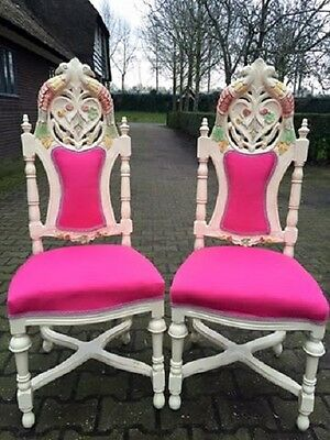 Antique Pair Of Two Handmade Chairs In Venetian Italian Style