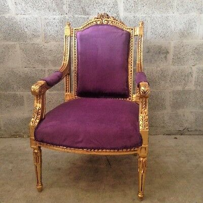 Antique French Louis Xvi Style Chair With Purple Velvet
