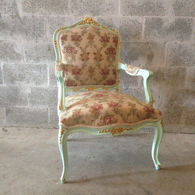 Antique chair made in Louis XVI style in original wooden frame and new fabric