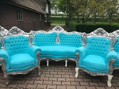 Antique Unique Sofa/couch/settee With 2 Chairs In  Baroque