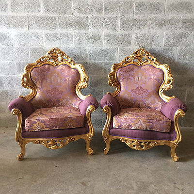 Antique Set Of Two Beautiful Chairs In Italian Rococo Style From 19Th Ct