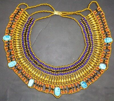 Egyptian Hand Made Multi Beaded Cleopatra 7 Scarab Necklace Collar Christmas