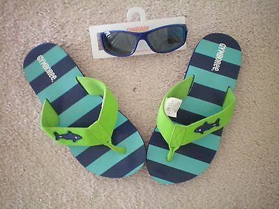 EUC Gymboree Boys Shark FLIP FLOP SANDALS (size 2-3) NWT  blue sunglasses