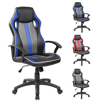 Swivel Faux Leather Office Chair Racing Sport Gaming Tilt Computer Desk Chair