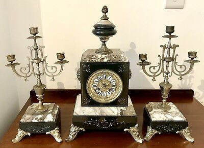 Antique French Marble Mantel Clock With Candelabra