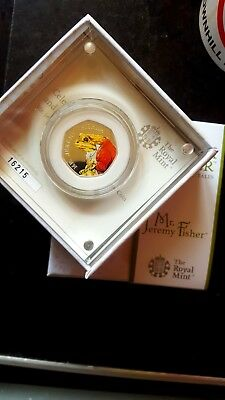 The Royal Mint Beatrix Potter MR.JEREMY FISHER Silver Proof 50p Coin low C.O.A