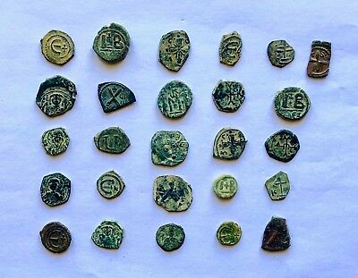 LOT OF 26 BYZANTINE BRONZE COINS INCLUDING RARE AND NICE TYPES (6th-12th cent.)