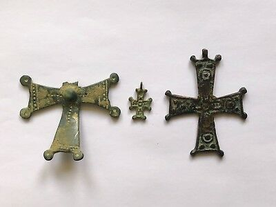 Lot Of 3 Byzantine Bronze Crosses. Nice Pieces Of Art! Low Starting Price!
