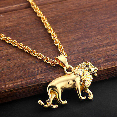 8cce5ead304b9 FASHION MEN LION King Head Pendant Necklace 18k Gold Plated Plating ...
