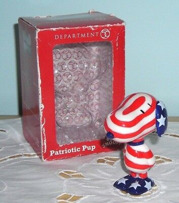 New In Box ~ Snoopy Dept 56 Patriotic Pup Figurine ~ Star Spangled Beagle Figure