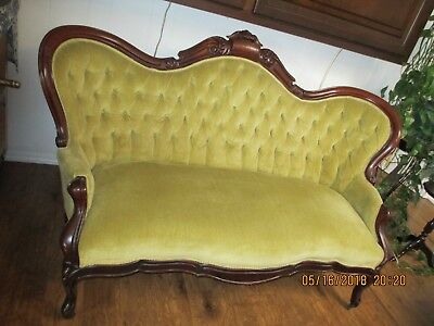 1890  Settee        American made, mahogany wood trim, excellent shape, gold fab