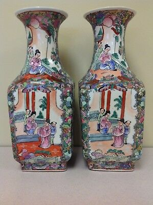 Matched Pair Of Four-Square Vintage Chinese Vases