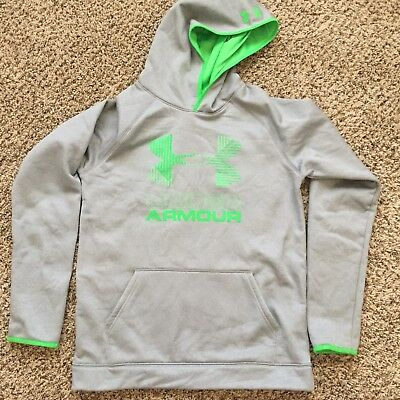 UA UNDER ARMOUR YXL Storm Hoodie Gray Green Youth XL Cold Gear Athletic