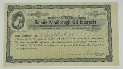 Jimmie Kimbrough Oil Interests Certificate