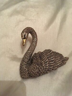 Country Artist Sterling Silver Swan with Gold Beak measures Large 8 cm by 7 cm