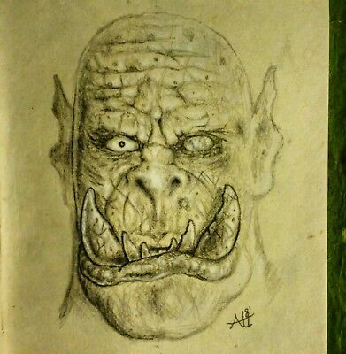 Orc Portrait - ork concept art/drawing - fantasy artist, original art urukhai