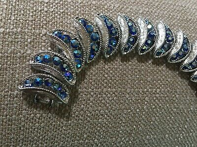 Vintage gorgeous antique silver costume link  bracelet with blue stones