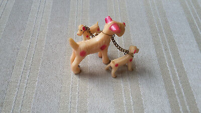Vintage Airedale Terrier Dog with Pups Family Of 3 on Chain - Made in Japan