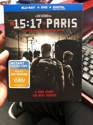 The 15:17 To Paris (Blu-Ray + DVD + Digital) 2018 w/SLIP COVER NEW & SEALED