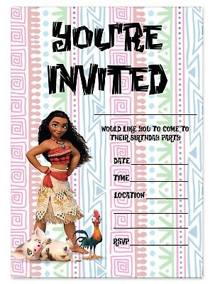 Moana Birthday Party Invitations Disney Princess Invites Children Pink Girls