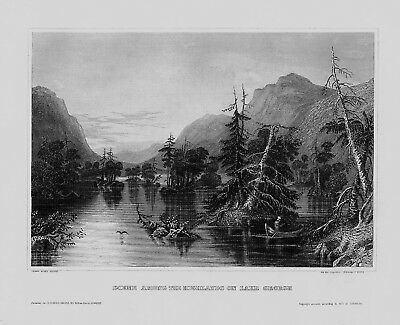 1840 - Lake George Fluss Adirondack New York America engraving Stahlstich