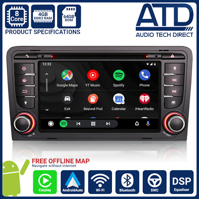 "7 "" Android 8.0 Oreo Radio DAB BT Navigatore Satellitare GPS Wifi Audio per A3"