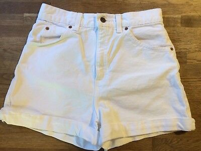 "vtg Levi Strauss HIGH WAISTED white denim shorts ORANGE TAB 28 3"" inseam cuffed"