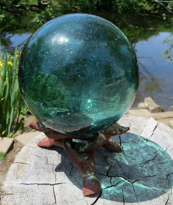 """Japanese Glass Fishing Float 4"""" BUBBLES++ Teal/Blue-Green w/ Tripod Stand Vntg"""