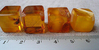 4pcs 13,26gr Antique Butterscotch Natural Baltic Amber Faceted Pieces
