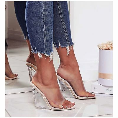New Transparent Clear PVC Pointy Toe Lucite Stiletto High Heel Pump Sandal Shoes