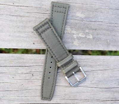 21mm Canvas Mens Army Olive Green Genuine Leather Nylon Watch Band Strap - USA!