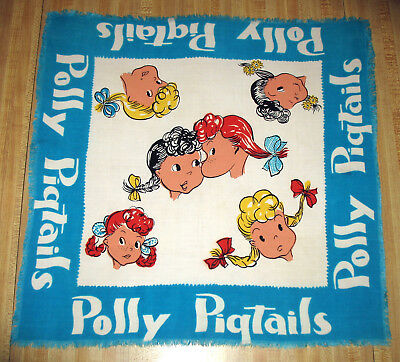 """Rare Vintage 40's 50's Child's Polly Pigtails Fringed Scarf Rayon or Cotton 21"""""""