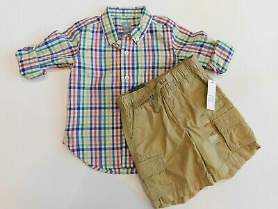 NWT Gap Baby Boy Button Down Long Sleeve Gingham Shirt 18-24M MSRP$27 New