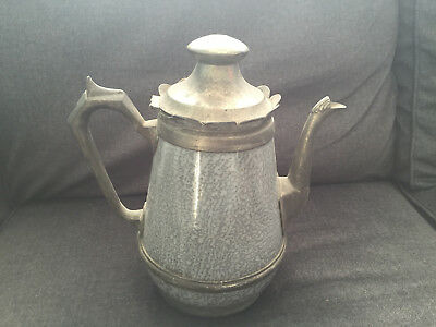 Vintage PEWTER & GRANTIEWARE Coffee Pot gray speckled GRANTIRE IRON WARE 1877