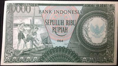 1964 Indonesia 10000 Rupiah Banknote Crisp Extremely High Grade Note