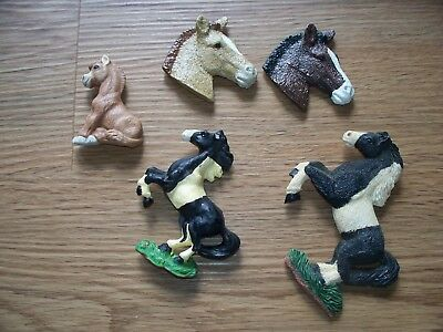 Black Pinto Rearing Sitting Horse Heads Horse Magnet Lot Of 5