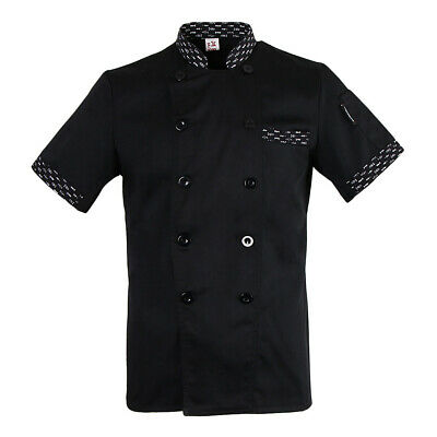 Baoblaze Chef Jacket White Black Red Short Sleeves Kitchen Chefs Coat for Unisex