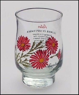 Aster Flower of the Month September Glass Bell Shape Tumbler from Canada