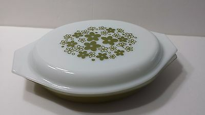 Vintage Pyrex Crazy Daisy Divided Dish with Lid 1 Quart Spring Blossom Pattern