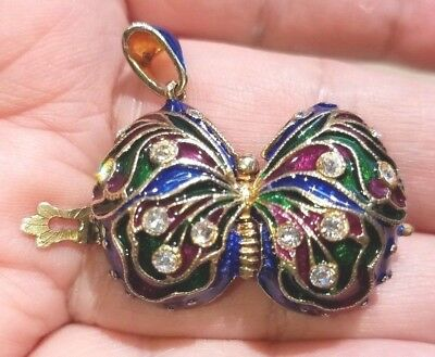 15g LARGE Butterfly Pair LOCKET Russian Enamel Egg Pendant Sterling Silver Gold