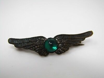 Antique Vintage Collectible Pin: Green Center Wings Excellent Design