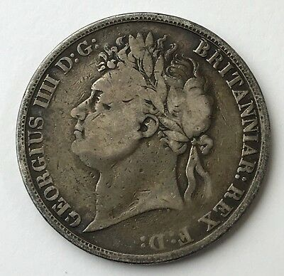 Dated : 1821 - Silver Coin - One Crown - King George IIII - Great Britain