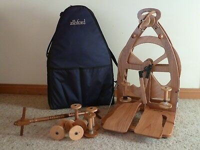 Ashford Joy portable spinning wheel, with carry bag and accessories