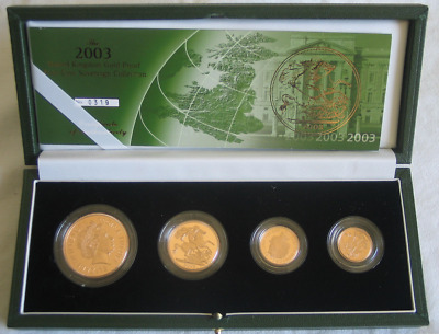 2003 Gold Proof 4-Coin Sovereign Collection Set, 917er Gold + Zertifikat, 68g