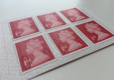6 x 1st Class Stamps New Genuine UK